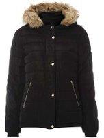 Dorothy Perkins Womens Black Faux Fur Hood Padded Coat- Black