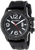 Haurex Italy Men's 3N502UNN Aeron Ion-Plated Coated Stainless Steel Rubber Luminous Date Watch