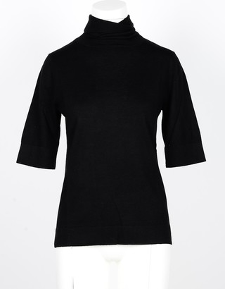 Snobby Sheep Black Silk and Cashmere Women's Turtleneck Sweater with 3/4 Sleeve