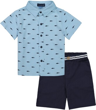 Andy & Evan Shark Print Button-Up Shirt & Shorts Set