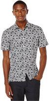 Perry Ellis Big and Tall Mini-Flower Short-Sleeve Shirt
