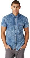 Frank & Oak Acid-Wash Denim Short-Sleeve Shirt in Blue