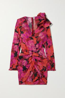 Magda Butrym Hoorne Twist-front Floral-print Silk Mini Dress - Pink