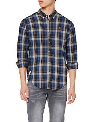 Napapijri Men's GOAYO Casual Shirt, (Blue Check 12C)