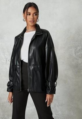 Missguided Black Faux Leather Oversized Gathered Back Biker Jacket