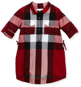Burberry Darielle Long-Sleeve Check Shirtdress, Red, Size 4-14