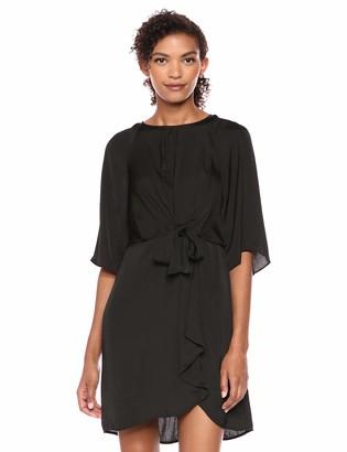 Vince Camuto Womens Drape Sleeve Tie Front Keyhole Rumple Dress Rich Black 10
