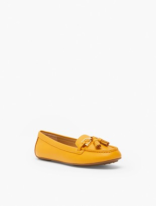 Talbots Everson Tasseled Pebbled Leather Driving Moccasins