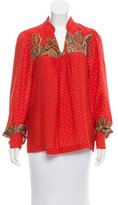 Tibi Printed Silk Blouse