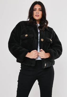 Missguided Plus Size Black Cropped Utility Borg Jacket