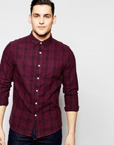 Asos Grid Check Shirt In Burgundy With Long Sleeves In Regular Fit