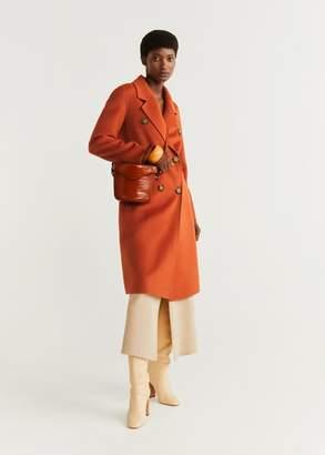 MANGO Structured wool coat burnt orange - XS - Women