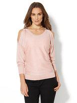 New York & Co. 7th Avenue Design Studio - Lurex Cold-Shoulder Sweater