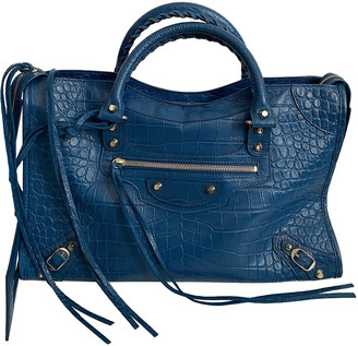 Balenciaga Classic Metalic Blue Leather Handbags