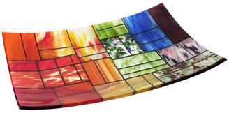 "Decorative Fused Glass Plate ""A Gentle Color Mix"", Multi-Color"