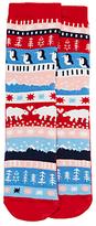 John Lewis Children's Penguin Fair Isle Slipper Socks, Red