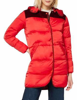 Scotch & Soda Maison Women's Long 'Primaloft' Jacket W/Detachable Hood and Contrast Yoke