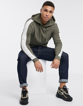 ASOS DESIGN hoodie in khaki with side stripe