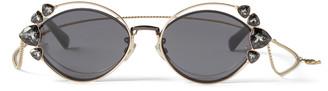 Jimmy Choo SHINE Black Ruthenium Sunglasses with Grey Lenses and Clip-On Chain Embellishment