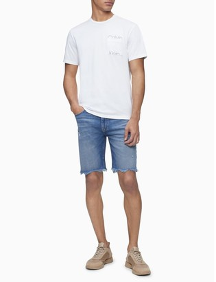 Calvin Klein Straight Fit Coney Island Blue Denim Distressed Shorts