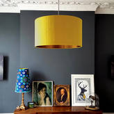 Love Frankie Brushed Copper Or Gold Lined Lampshade In Mustard Silk