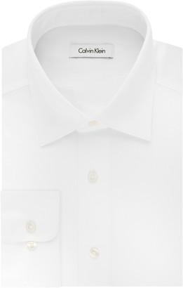 Calvin Klein Men's Regular Fit Stretch Solid Spread Collar Dress Shirt