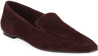 The Row Minimal Flat Suede Loafers