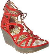 Fly London As Is Leather Lace-up Wedge Sandals - Yuke