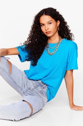 Nasty Gal Womens The Basic Facts Oversized Tee - Turquoise