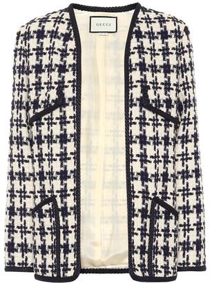Gucci Houndstooth tweed wool-blend jacket