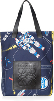 Loewe Galaxy-print leather-handle tote