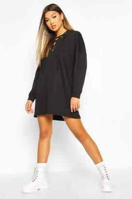 boohoo Lace Up Hooded Oversized Sweatshirt Dress