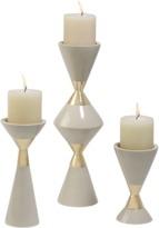 Global Views Hourglass Pillar Candleholders - Set of 3
