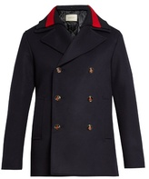 Gucci Detachable Web-collar wool pea coat