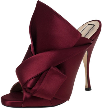 N°21 N21 Burgundy Satin Ronny Pleated Mules Sandals Size 40