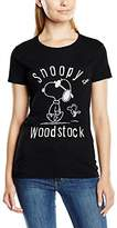 Peanuts Women's Snoopy and Woodstock Short Sleeve T-Shirt,(Manufacturer Size:Large)