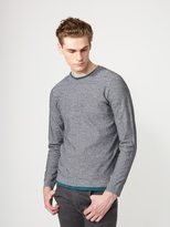 Frank + Oak LiteWeave Knit Crewneck in Mixed Grey