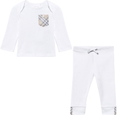Burberry White Tee with Classic Check Pocket and Trousers Gift Box