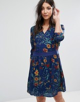 Lavand Long Sleeve Printed Skater Dress