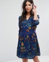 Lavand Long Sleeve Printed Skater Dress