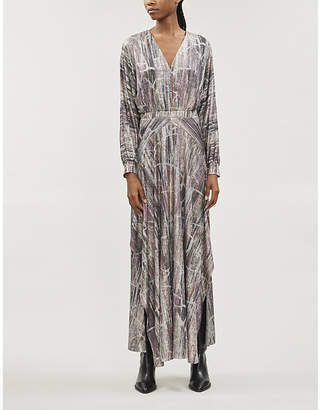 BA&SH Santana metallic-pattern woven maxi dress