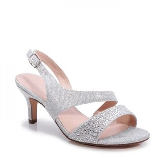 Paradox London Glitter 'Lumley' Wide Fit Low Heel Sandal
