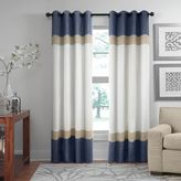 Veratex Brooklyn Colorblock Linen Grommet Window Curtain Panel