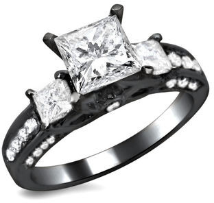 Overstock 14k Black Gold 1 1/2ct TDW Certified 3-stone Enhanced Princess Cut Diamond Engagement Ring