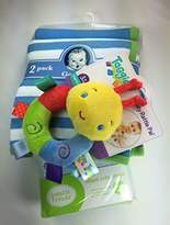 Gerber Baby Gift Bundle - 3 Items 2-pack Thermal Receiving Blankets, Lovable Friends' Blue Fitted Crib Sheet, and Taggies Cozy Rattle Pal