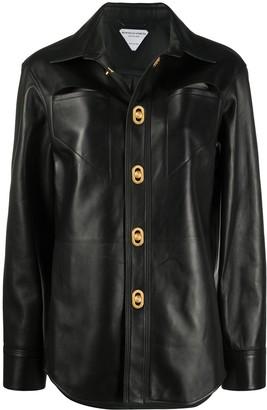 Bottega Veneta Leather Jacket With Gold Button Detail