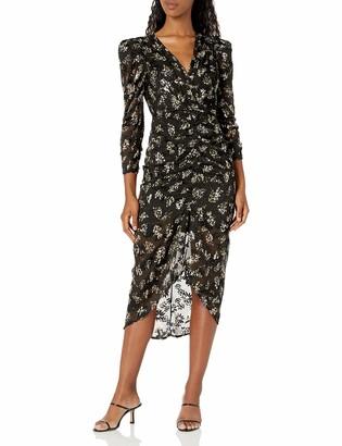 ASTR the Label Women's Maven V-Neck Long Sleeve Front Slit Midi Dress
