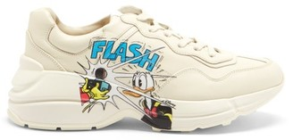 Gucci X Disney Rhyton Donald Duck-print Leather Trainers - White Multi