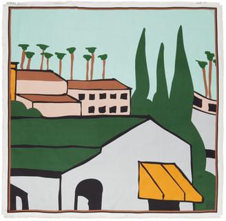 Loewe Green Ken Price Edition Silk LA Scarf