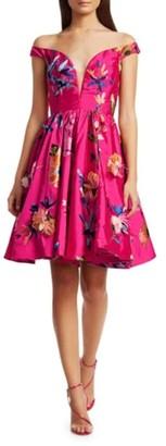Marchesa Taffeta Off Shoulder Dress